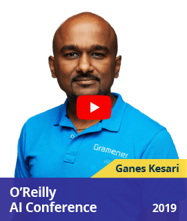 Ganes Kesari speaking at O'Reilly AI conference, San Jose about Saving Penguins in Antarctica with Deep Learning