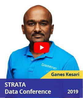 Ganes Kesari speaking at STRATA data conference, London in 2019 about saving biodiversity with AI